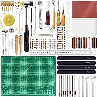 FEPITO 58 Pcs en Cuir Artisanat Outils DIY en Cuir À Coudre Outils pour La Main À Coudre Couture en Cuir Artisanat DIY Out...