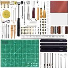 FEPITO 58-delige gereedschapsset voor leerverwerking, voor naaien met de hand voor de doe-het-zelver