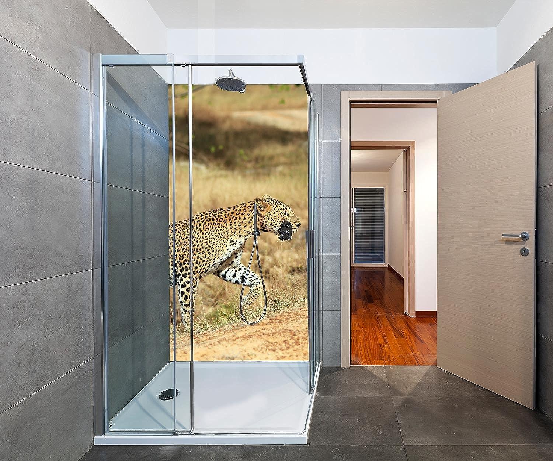Wandmotiv24 Duschrückwand Sri-Lankischer Leopard 100 x 200cm (B x H) - Aluminium 3mm Duschwand Design, Keine Fugen M1058
