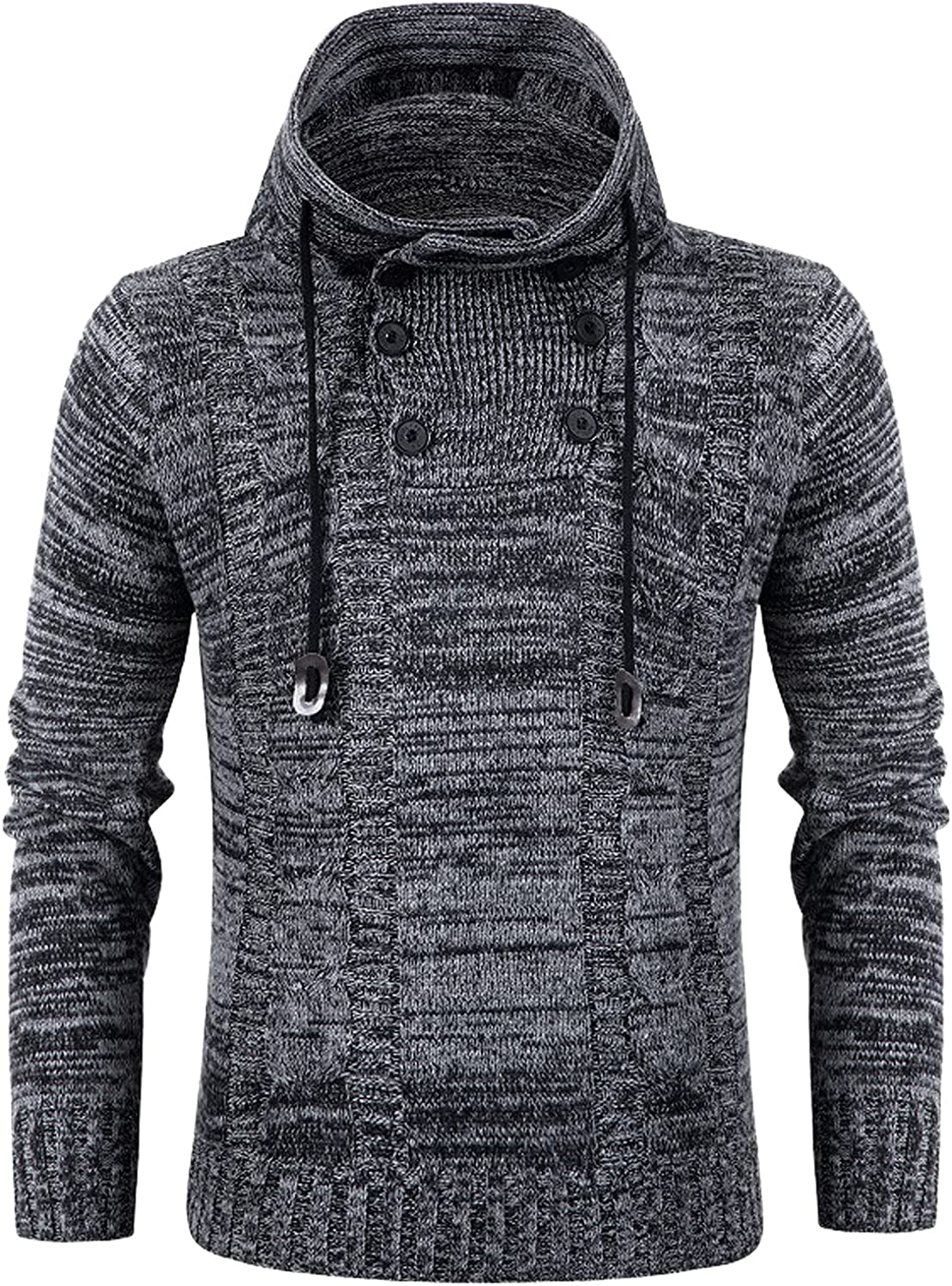 XXBR Knitted Sweaters for Mens, Fall Winter Cowl Neck Pullover Horn Button Turtleneck Cardigan Casual Warm Jumper