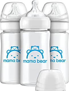 Amazon Brand - Mama Bear Infant Feeding Wide-Neck Baby Bottle with Slow Flow Nipple, BPA Free, 9...
