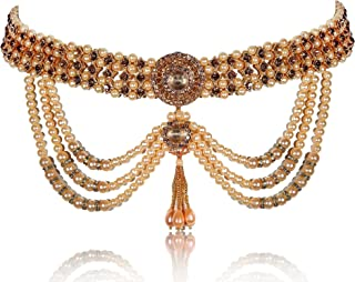 Womensky Ottiyanam Gold- Plated; Shell and Pearl Golden Kamarband for Women