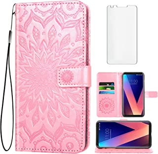 Phone Case for LG V35 ThinQ V30 Plus Wallet with Tempered Glass Screen Protector and Leather Flip Cover Card Holder Stand ...
