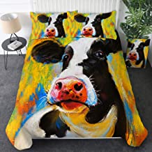 Sleepwish Teen Bedding Boys Girls Cow Print Twin Size Oil Pastel Painting Quilt Cover Kids Duvet Cover Sets 3 Pieces Modern Farm Animals Comforter Covers