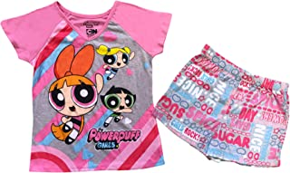 Power Puff Girls Cartoon Network Short Sleeve top and Shorts with Bow Pajama Set Purple