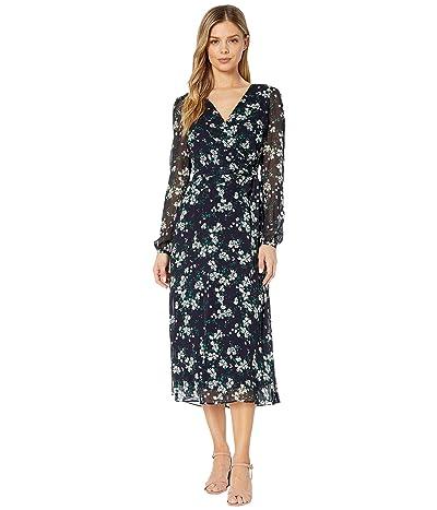 LAUREN Ralph Lauren Franny Santoyo Floral Long Sleeve Day Dress (Lighthouse Navy/Colonial Cream) Women