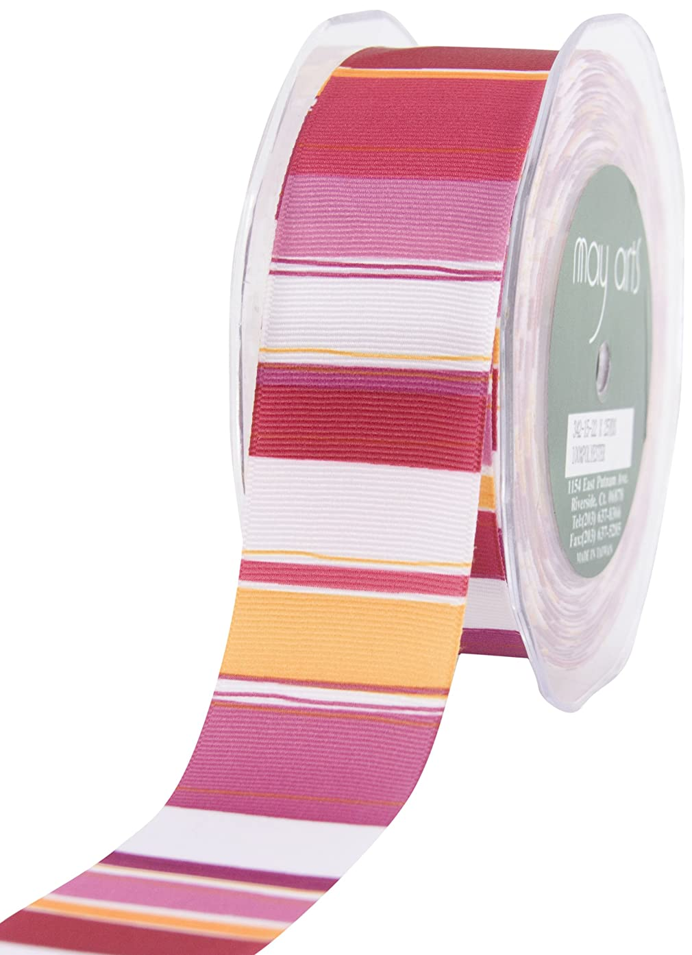 May Arts 1-1/2-Inch Wide Ribbon, Fuchsia and Orange Grosgrain Stripe