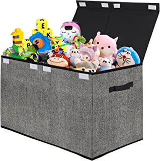 Coffre à jouets avec couvercle rabattable, grande boîte pliable pour enfants, pour crèche, salle de jeux, placard, organis...
