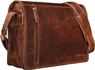"""STILORD Noah"""" Vintage Umhängetasche Leder 13,3 Zoll Laptoptasche Studium Uni Büro Arbeit Unisex für MacBook echtes Rindsleder, Farbe:Kara - Cognac"""