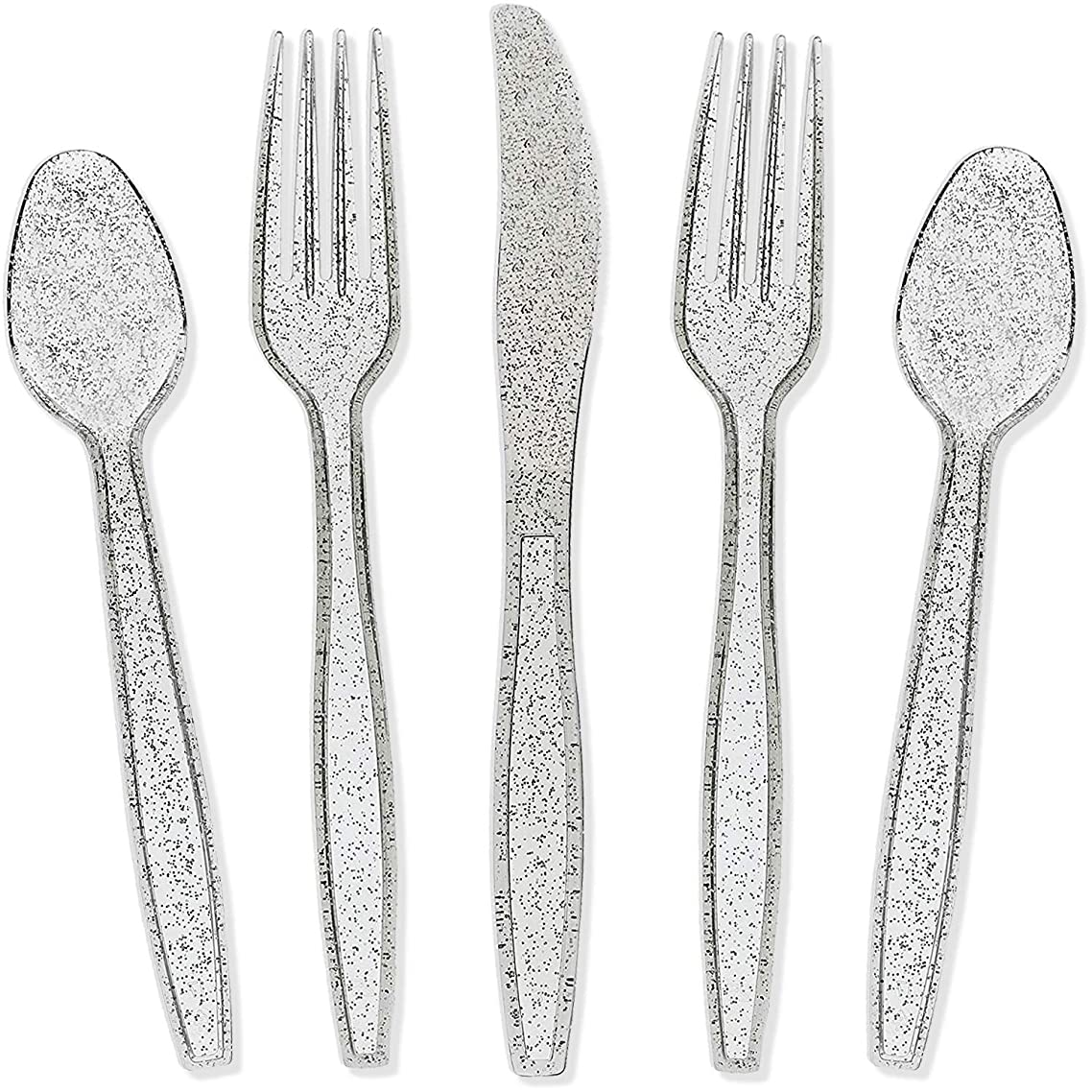 Juvale Silver Glitter Plastic Cutlery Set of 48 Forks Knives and Spoons (Silver)