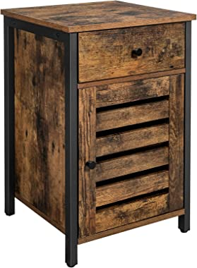 VASAGLE Nightstand, Side Table with Drawer, Shutter Door, End Table with Adjustable Shelf, Metal Frame, Industrial Style, Rus