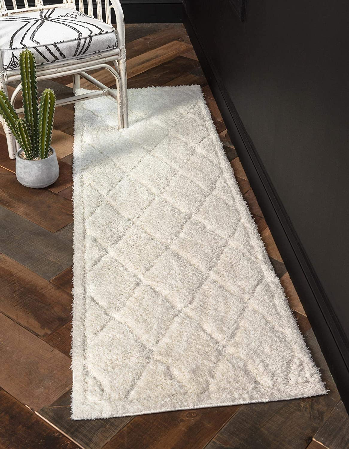 Rugs.com Lattice Shag Collection Rug Popular shop is the lowest price challenge – 10 Ft Ivory Max 83% OFF S Runner