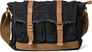 Gootium Canvas Messenger Bag - Vintage Shoulder Bag Frayed Style Satchel, Black