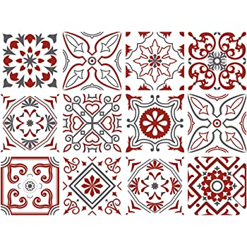 Planche De 12 Adhesif Carrelage Carreaux De Ciment Redmonky Dimensions D Un Sticker 15 X 15 Cm Amazon Fr Cuisine Maison