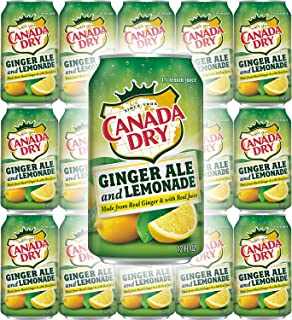 Canada Dry Ginger Ale & Lemonade, Made from Real Ginger & with Real Juice, 12oz Can (Pack of 15, Total of 180 Oz)