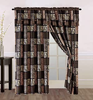 4 Piece Brown / Black Animal Print Safari Patchwork Microfur Curtain set with attached Valance and Sheers - Leopard, Zebra, Cheetah Etc.