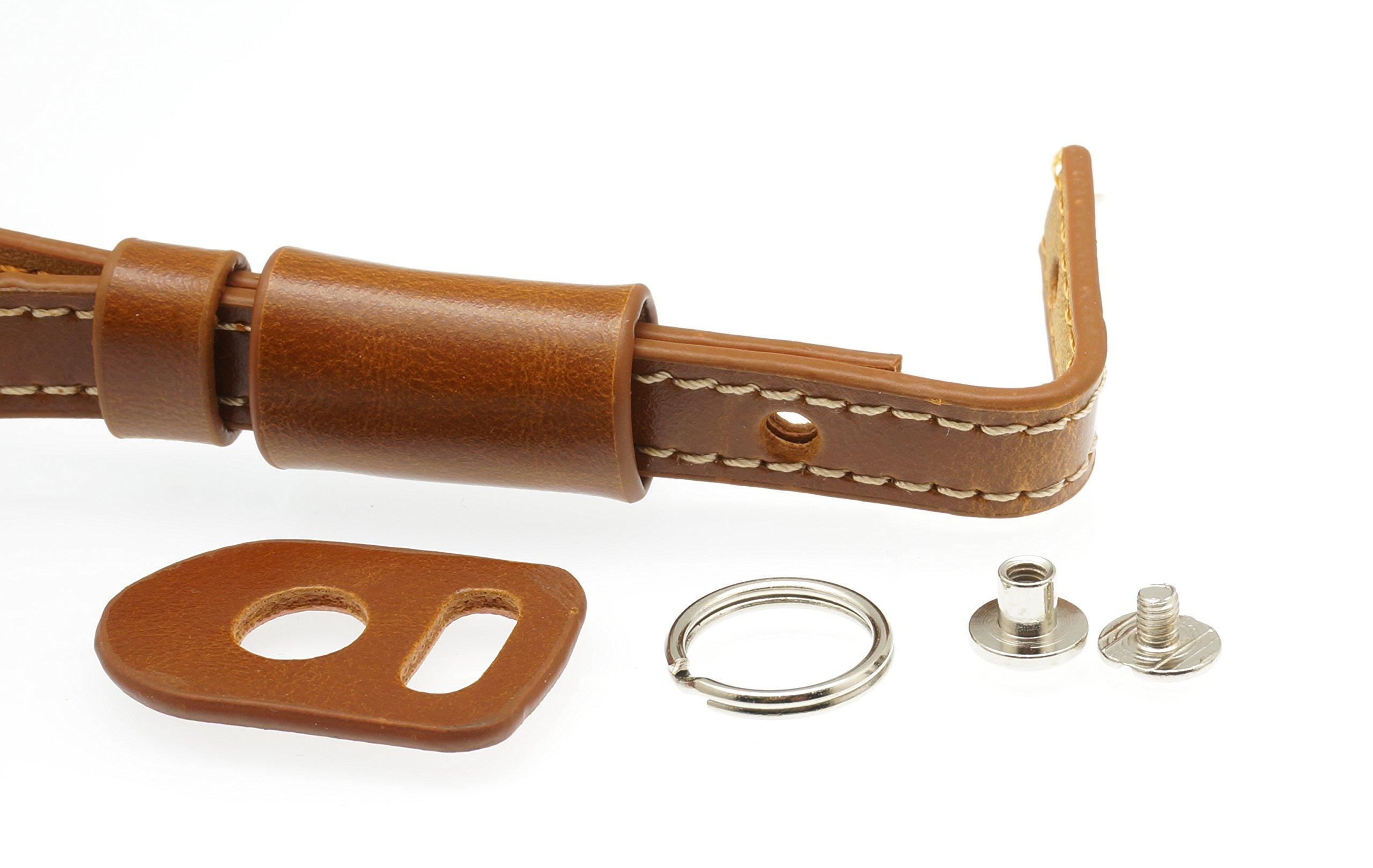 Gadget Place Light Brown Classy Leather Wrist Strap for Panasonic Lumix DMC-LX10 LX15 LX100 LX7 LX5 TS6 FT6 TS30 FT30 SZ10 ZS45 TZ57 ZS50 TZ70