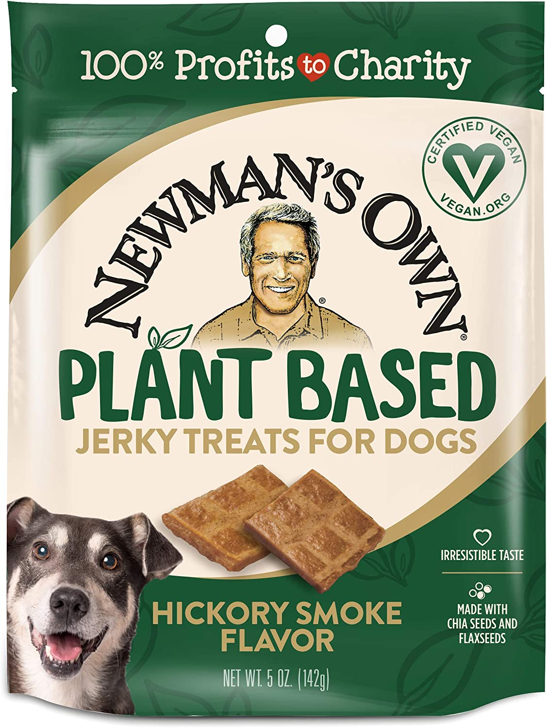 Newman's Own Plant Based Jerky Treats for Dogs, Hickory Smoke, 5-Ounce Bag (Pack of 6)