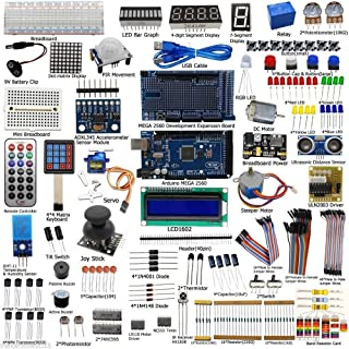 Complete Ultimate Starter Kit for Arduino with Mega2560, LCD, Servo Motor, Sensors,Breadboard and Jumper Cable