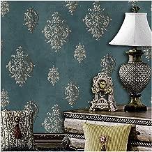 JZ118 Retro Blue Damask Wallpaper Rolls, Stereo Deep Embossed Vinyl Wallpaper Bedroom Living Room Hotel Wall Decoration 20.8