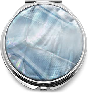 Makeup Compact Pocket Mirror Mother of Pearl Metal Round Double Sided Folding Magnify Digital Fractal Blue Silver