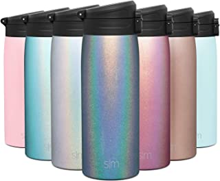 Simple Modern 16oz Kona Travel Mug Tumbler w/Flip Lid - Thermos Coffee Cup Vacuum Insulated Camping Flask with Lid 18/8 Stainless Steel Hydro Shimmer: Blue Moonstone