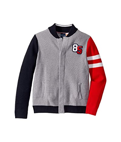 Tommy Hilfiger Adaptive Baseball Sweater with Magnetic Buttons at Front (Little Kids/Big Kids) (Academy Grey Heather Bros) Men