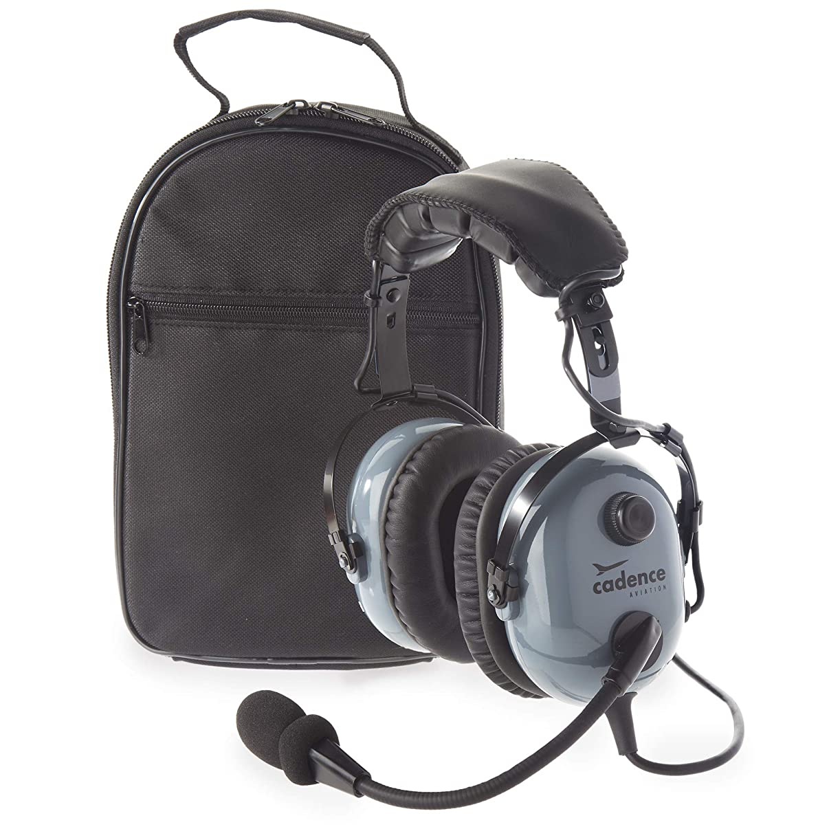Cadence CA501 Premium PNR Pilot Aviation Headset with Aux Input and Carrying Case - Stealth Gray