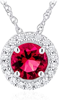 """.925 Sterling Silver Birthstone & Lab Grown White Sapphire or CZ Halo Pendant Necklace on 18"""" Rope Chain - Choice of Gem C..."""
