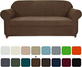 subrtex Sofa Cover 2 Piece Stretch Couch Slipcovers Furniture Protector for Armchair Loveseat Washable Soft Jacquard Fabric Anti Slip, Large, Coffee