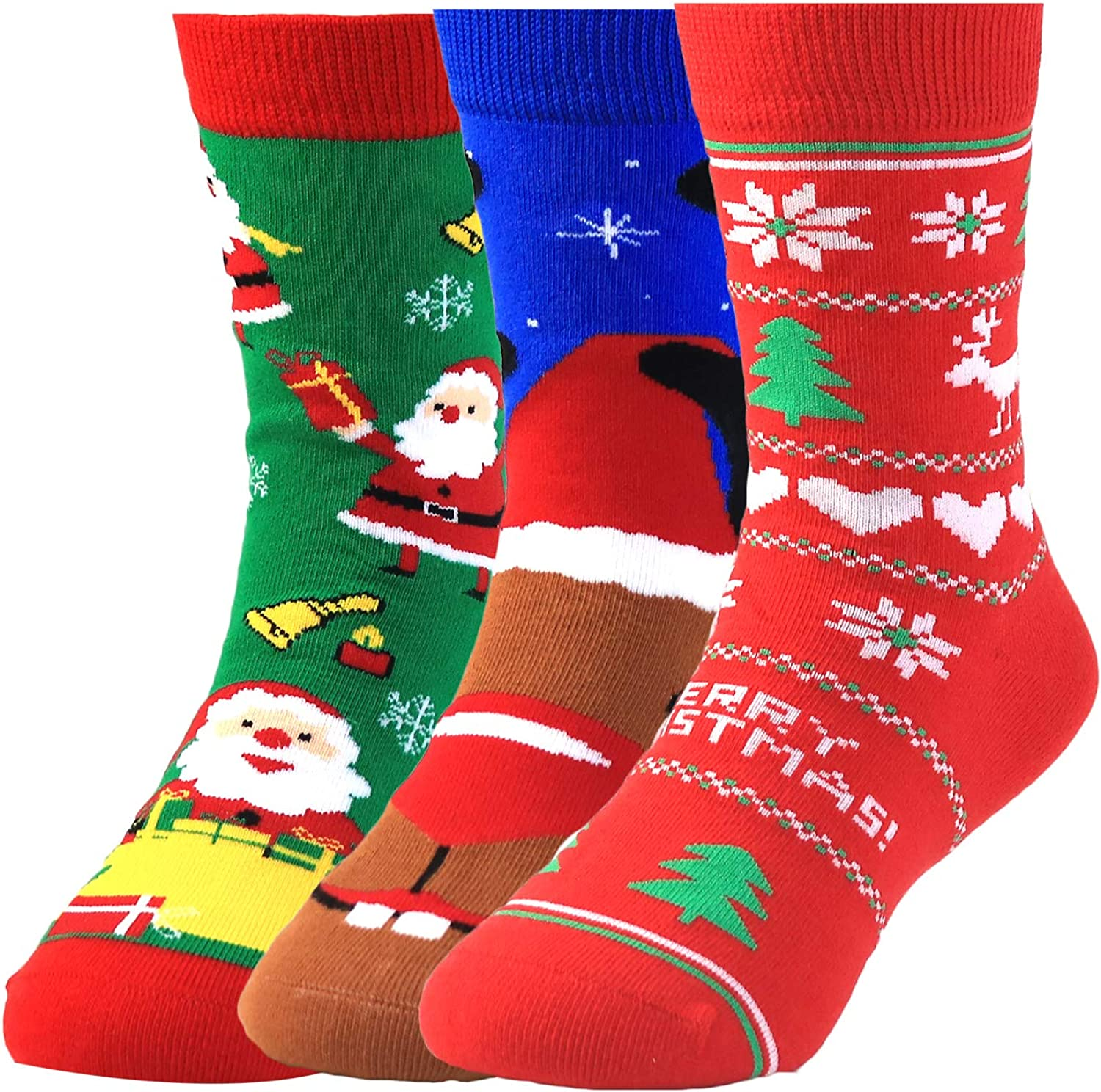 Kids Christmas Novelty Fun Colorful Pattern Seamless Combed Cotton Dress Socks for Boys Pack of 3