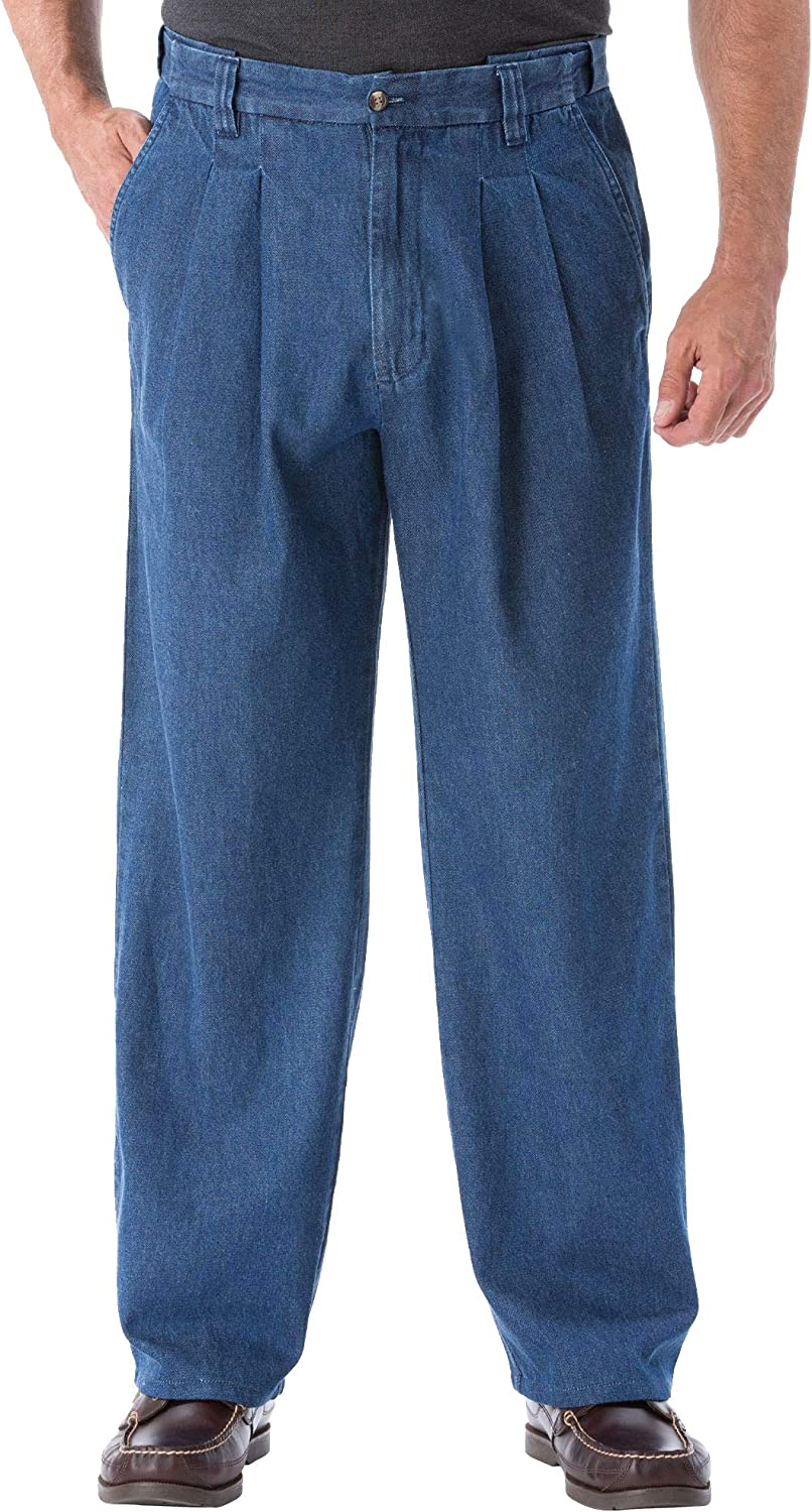 KingSize Men's Big & Tall Relaxed Fit Comfort Waist Pleat-Front Expandable Jeans