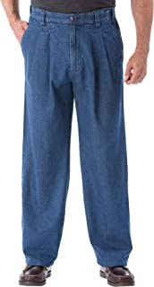 Men's Big & Tall Relaxed Fit Comfort Waist Pleat-Front Expandable Jeans