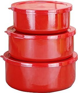 Reston Lloyd 6 Piece Enamel on Steel Bowl Set, Small, Red