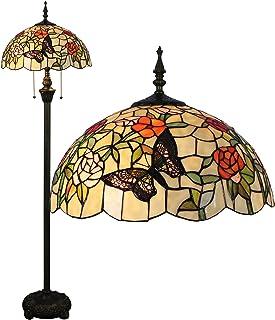 Gweat Tiffany 16 Pouces Style Pastoral Romantique Chaud Vitrail Papillons Sur Les Fleurs Series Lampadaire
