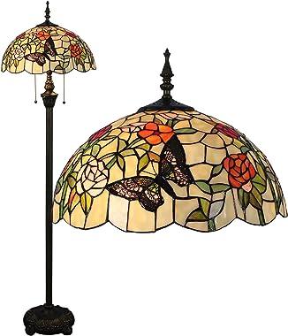 Gweat Tiffany 16 pollici romantico stile pastorale caldo Stained Glass farfalle su fiori serie lampada da terra