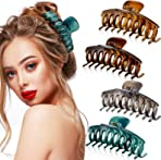 4 Pieces Big Hair Claw Clips 4.4 Inches Large Hair Jaw Clips Strong Hold Hair Accessories for Women and Girls Thick Long Hair (Light Brown, Dark Brown, Grey, Green)