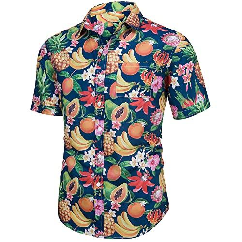 cd4c137a219 Men s Casual Short Sleeve Button Down Print Aloha Beach Tropical Hawaiian  Shirt