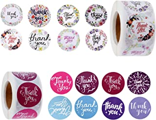 "2 Rolls Thank You Stickers, Roll of 500, 16 Designs, 1.5"" and 1"" Sealing Thank Your Stickers, Floral Thank You Adhesive La..."