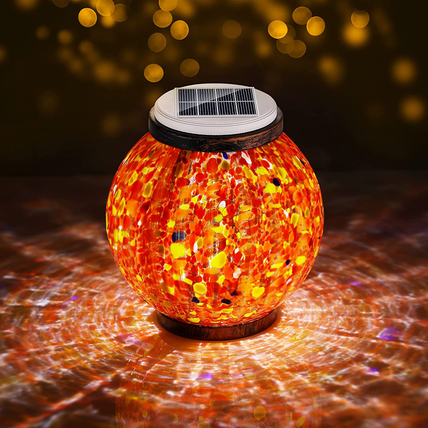 Max 65% OFF Elocupwe Mosaic Solar Garden Hanging Outdoor Light Rechargeable outlet
