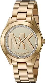 Michael Kors Women's Mini Slim Runway Goldtone Three-Hand...