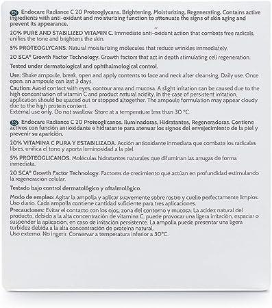 Endocare Radiance C 20 Proteoglicanos - Ampollas Faciales Antiedad, Regeneradoras, Hidratantes y Antioxidantes, con Vitamina C, Pieles Secas o ...
