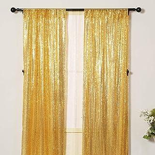 Poise3EHome Pailletten Fotografie Vorhang, 91 x 213 cm, 2 Paneele für Party Dekoration, goldfarben