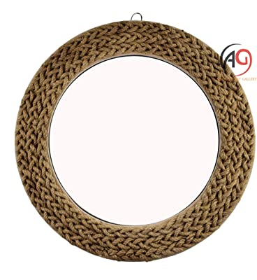 Absolute Art Gallery™ Wall Mirror Rustic Design with Rope Round Shape (Size - 18 inch)