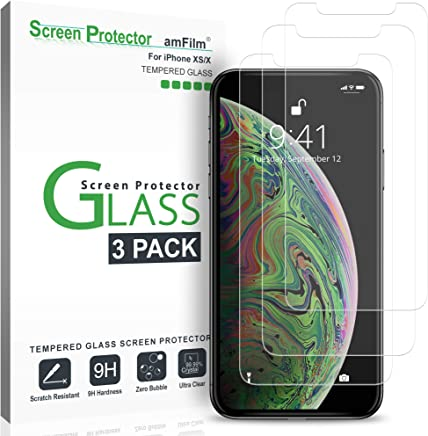 amFilm Glass Screen Protector for iPhone Xs/X (5.8 Inch)(3 Pack) iPhone 10s / 10 Tempered Glass with Easy Installation Tray