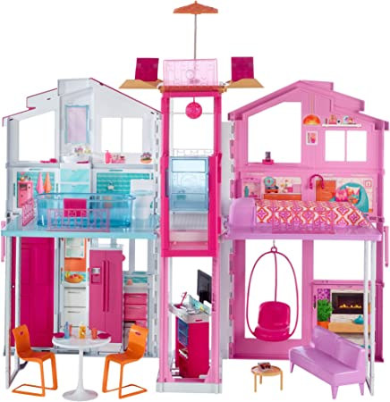 Barbie 3-Story House with Pop-Up Umbrella, Multicolor [Amazon Exclusive]