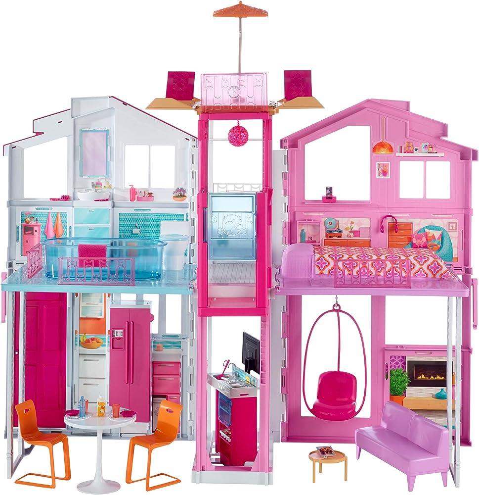 Barbie-la casa di malibu per bambole con accessori e colori vivaci per bambini 3+ anni DLY32