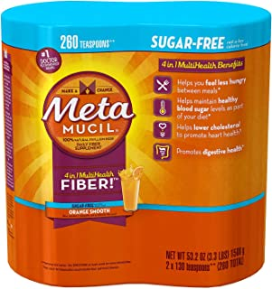 Metamucil Sugar Free Fiber Supplement, Orange Smooth 260 Servings