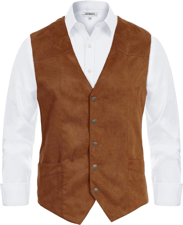 Finally popular brand Gioberti Gorgeous Men's 5 Button Suede Faux Vest