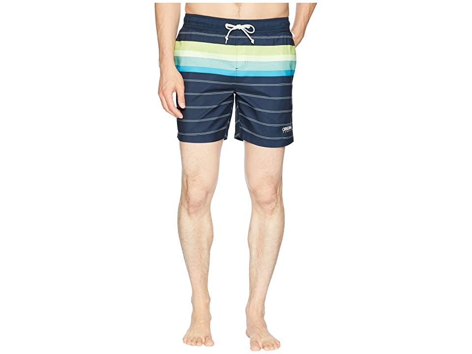Original Penguin Engineered Stripe Elastic Trunk (Dark Sapphire) Men
